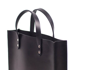 Black English Bridle Leather Slim Tote with Top Handle Detail