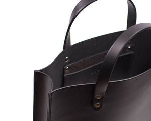 Black English Bridle Leather Slim Tote with Top Handle and Interior Pocket