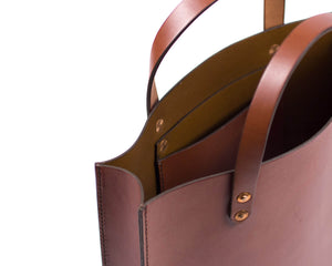 Mahogany English Bridle Leather Slim Tote with Top Handle and Interior Pocket