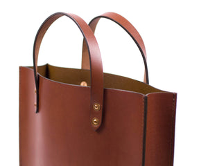 Mahogany English Bridle Leather Slim Tote with Top Handle Detail