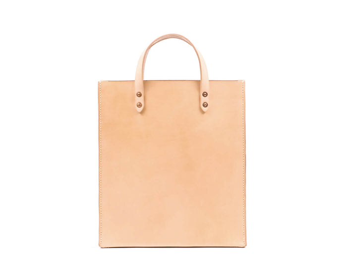 Natural Vegtan Leather Slim Tote with Top Handle
