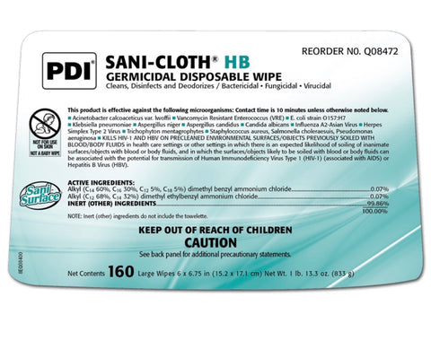 Sani-Cloth® HB Germicidal Disposable Wipe