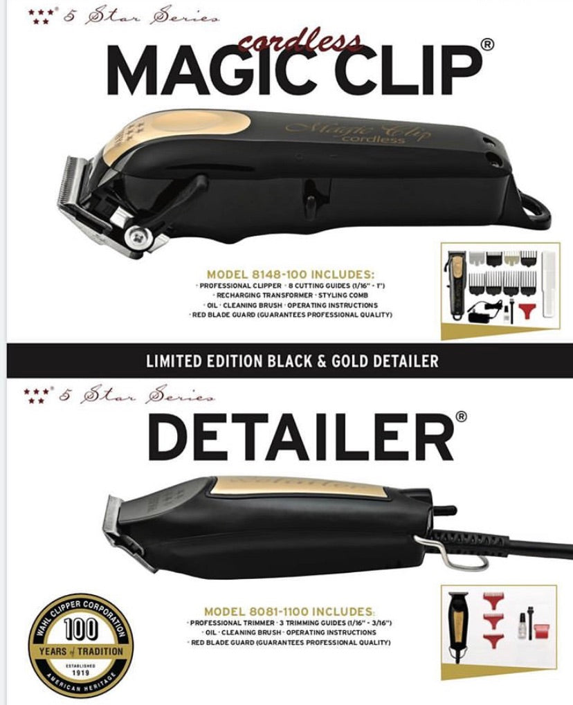 Wahl Cordless Black and Gold Magic Clip and Corded Detailer Black and Gold Bundle Limited Edition