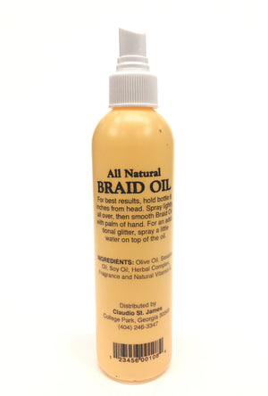 Claudio St. James brings you Braid Oil - Vitamin E . All of our products are for hair styles such all natural afros braids curls twist silky long extensions synthetic real human hair perms wraps wigs curls weave. Our oils, sheen, gels, shampoo, conditioners, cleans dirt, softens hair, penetrate scalps, relieves tighter braids, while adding luster, repairing damaged hair, preventing breakage, Promotes growth, Controlling dandruff, moisturizing dry scalps, reducing the need to scratch itchy scalps,