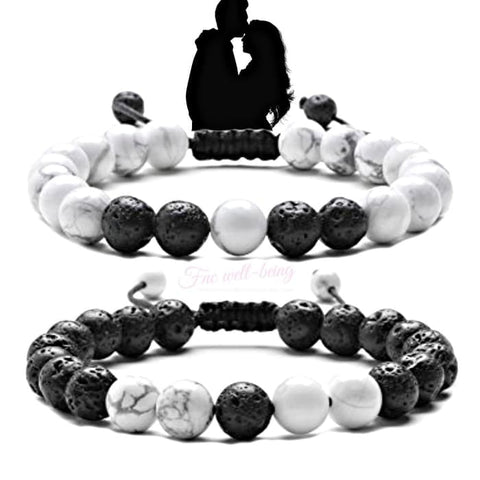 Couples Yin and Yang Crystal Stone Bracelet