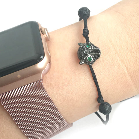 Black Panther Lava Stone Aromatherapy Essential Oil Diffuser Bracelet