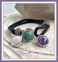 IB-01 Interchangeable 3-in-1 Gemstone Leather Cord Bracelet  Bracelet