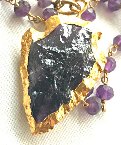 Amethyst Arrowhead Pendant Gold Chain Healing Crystal Necklace