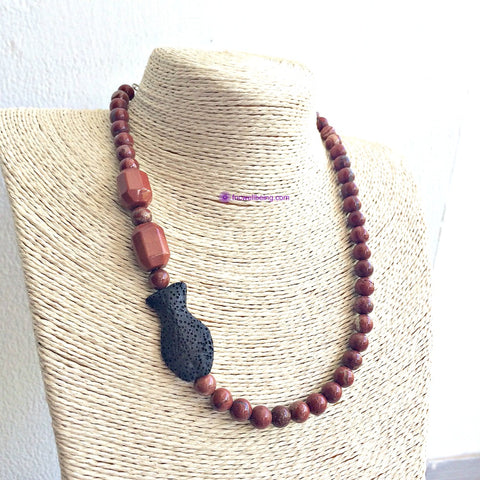 NK50 Red Jasper Fish Lava Diffuser Necklace  Necklace
