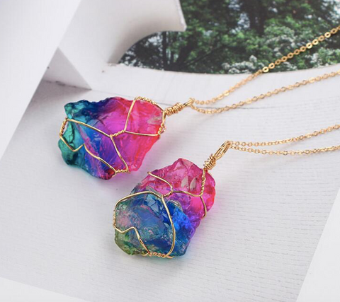 Rainbow Natural Stone Necklace NK29