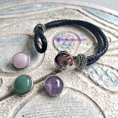 IB-01 Interchangeable 3-in-1 Gemstone Leather Cord Bracelet