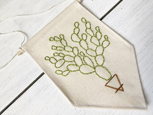 Prickly Pear Cactus Wall Banner | Mountains of Thread