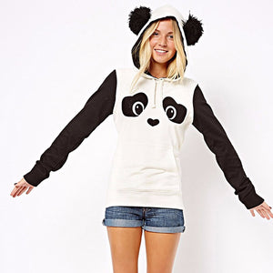Women's Panda Pullover Hooded Sweater