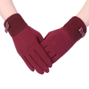 Top Brand New Fashion Woman Warm Winter   Screen Female Gloves Mittens Black Coffee Gray Pink Purple Red