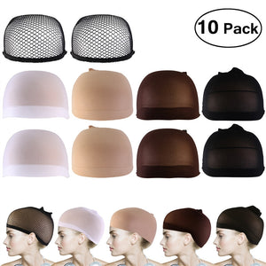 PIXNOR 10pcs Wig Caps Neutral Nude White Brown and Black Mesh Wig Cap