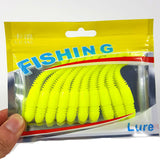 10Pcs/Lot Lures Soft Bait 75mm 3.2g silicone bait Worms fishing lure with salt smell Fishing Takcle Grub Artificial Lures YE-269