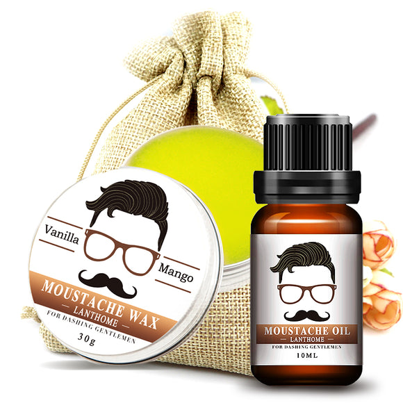 2pcs  Lanthome 100% Beard growth oil and Balm All-Natural Leave-In Conditioner Set For gentleman beard Moisturizing Modeling