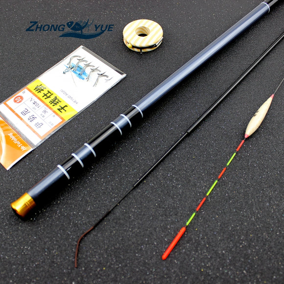 3.6M-7.2M Carbon Fiber Telescopic Fishing Rod Super Hard Ultra Light Carp Fishing Pole Stream Fishing Rod Hooks Set