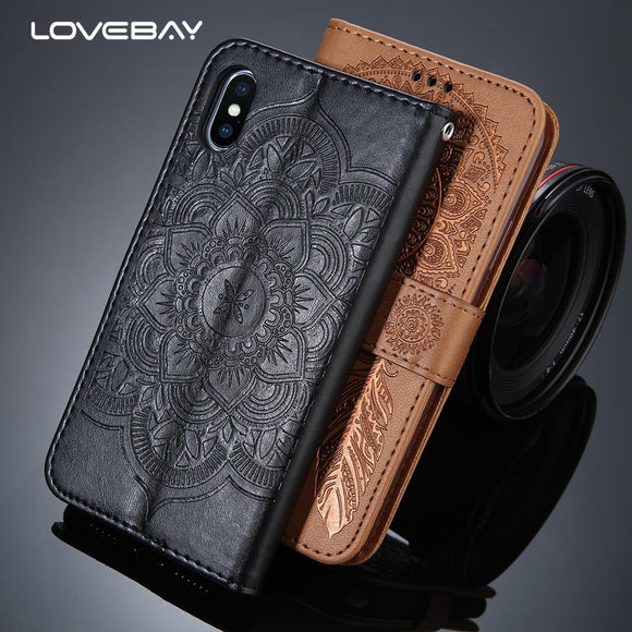Lovebay Luxury Flip Stand Leather Case For iPhone X 8 Plus Mandala Flower Wallet Card Slot Phone Cases For iPhone 8 Cover Coque