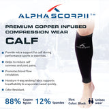 Calf Copper Compression Sleeve - Premium Copper Wear 88% Copper Nylon.