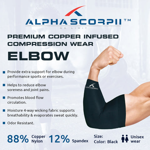 Elbow Copper Sleeve - Premium Copper Compression Wear 88% Copper Nylon.