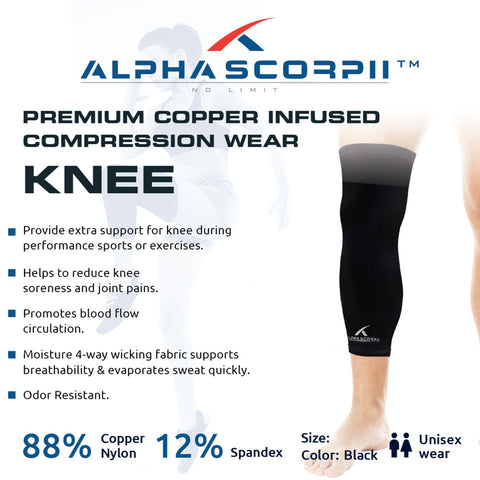 Knee Copper Compression sleeve - Premium Copper Wear 88% Copper Nylon. P