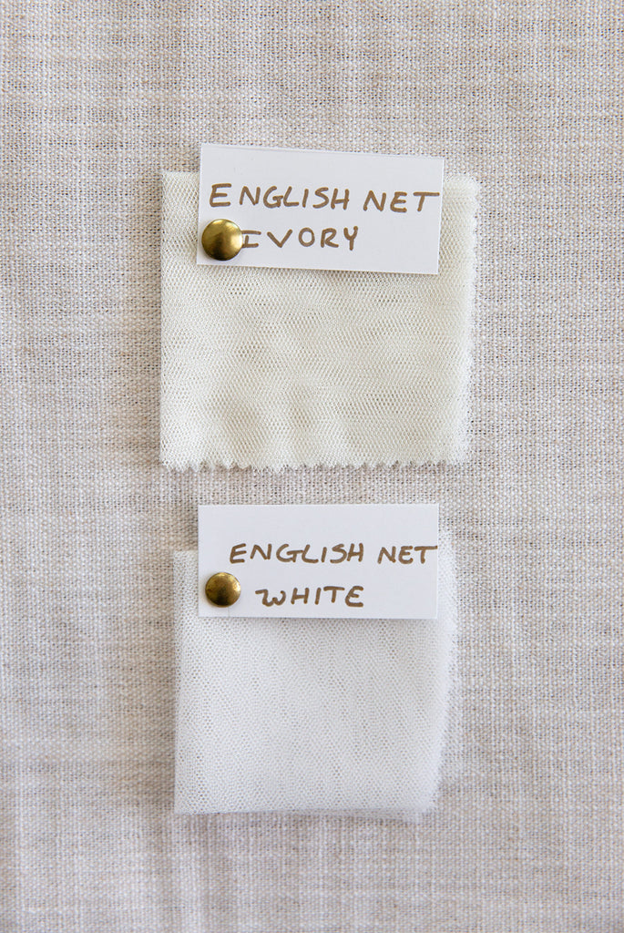 English netting soft white and ivory