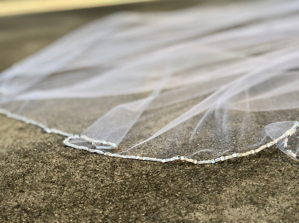 beaded pearl and crystal edged wedding veil
