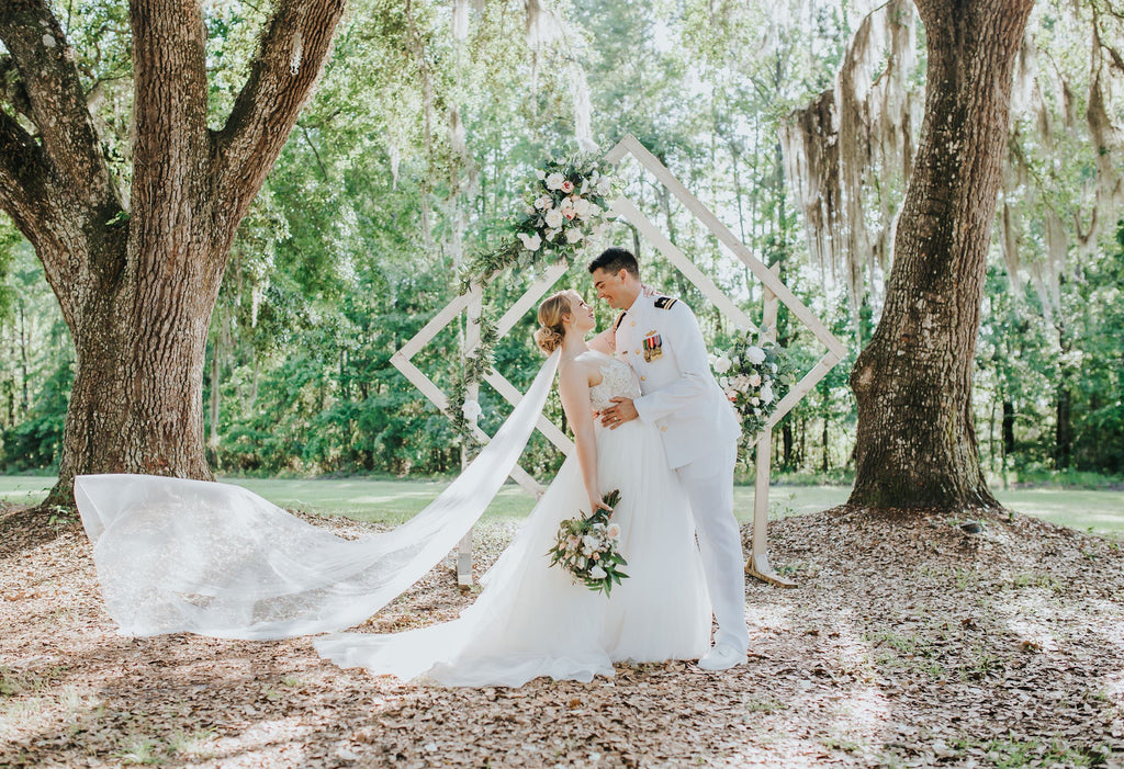 simple english net wedding veil with raw edge