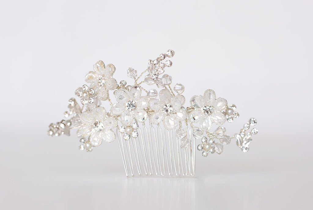 floral clear and silver beaded hair comb for brides