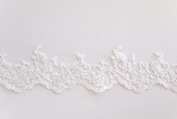 floral scalloped french alencon lace trim