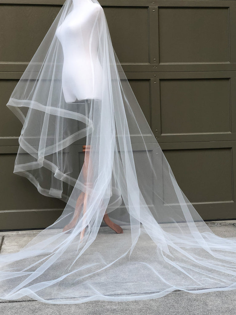 horsehair ribbon cascade wedding veil