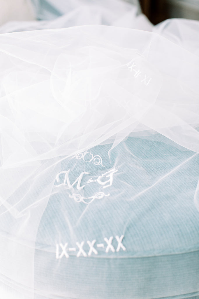 embroidered roman numeral and initials wedding date veil