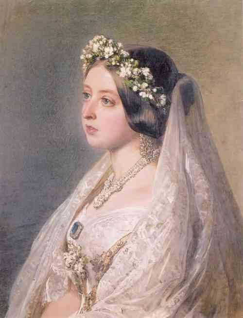 Queen Victoria on wedding day in crown and veil