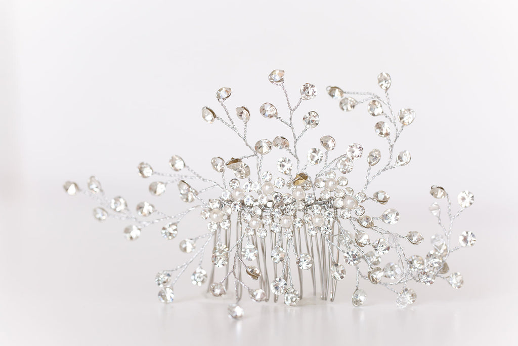 flexible silver rhinestone hair comb for brides