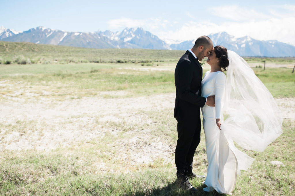 mountaintop wedding with bride holding long royal length wedding veil