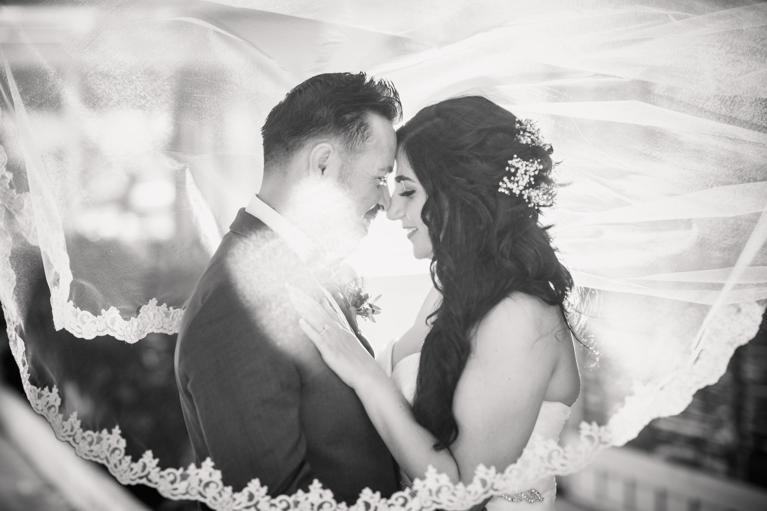 Wedding Photography of Couple with Lace Veil Over Head