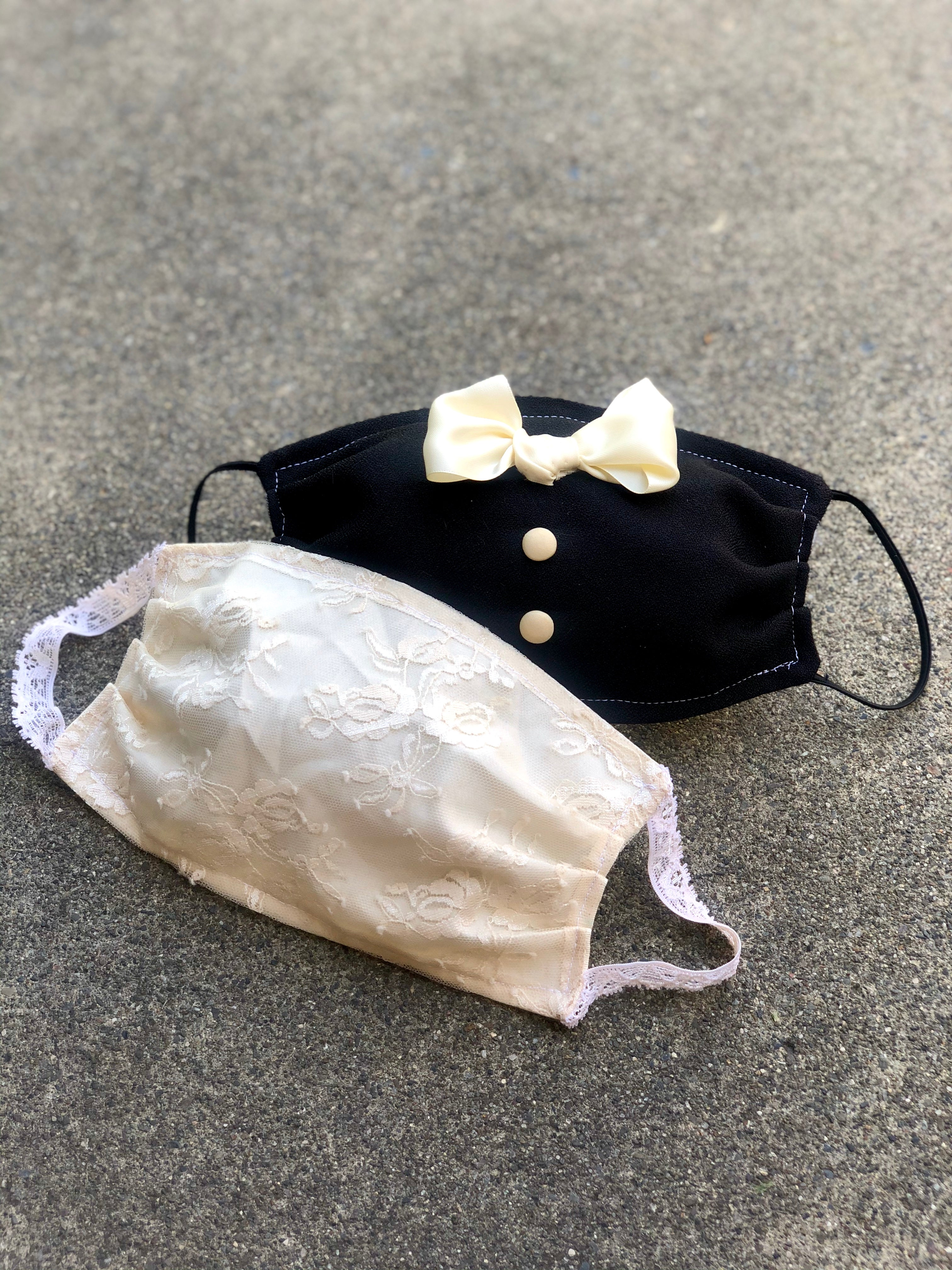 Wedding Face Mask Set for Bride and Groom, Tuxedo and Lace Double Layer Face Cover