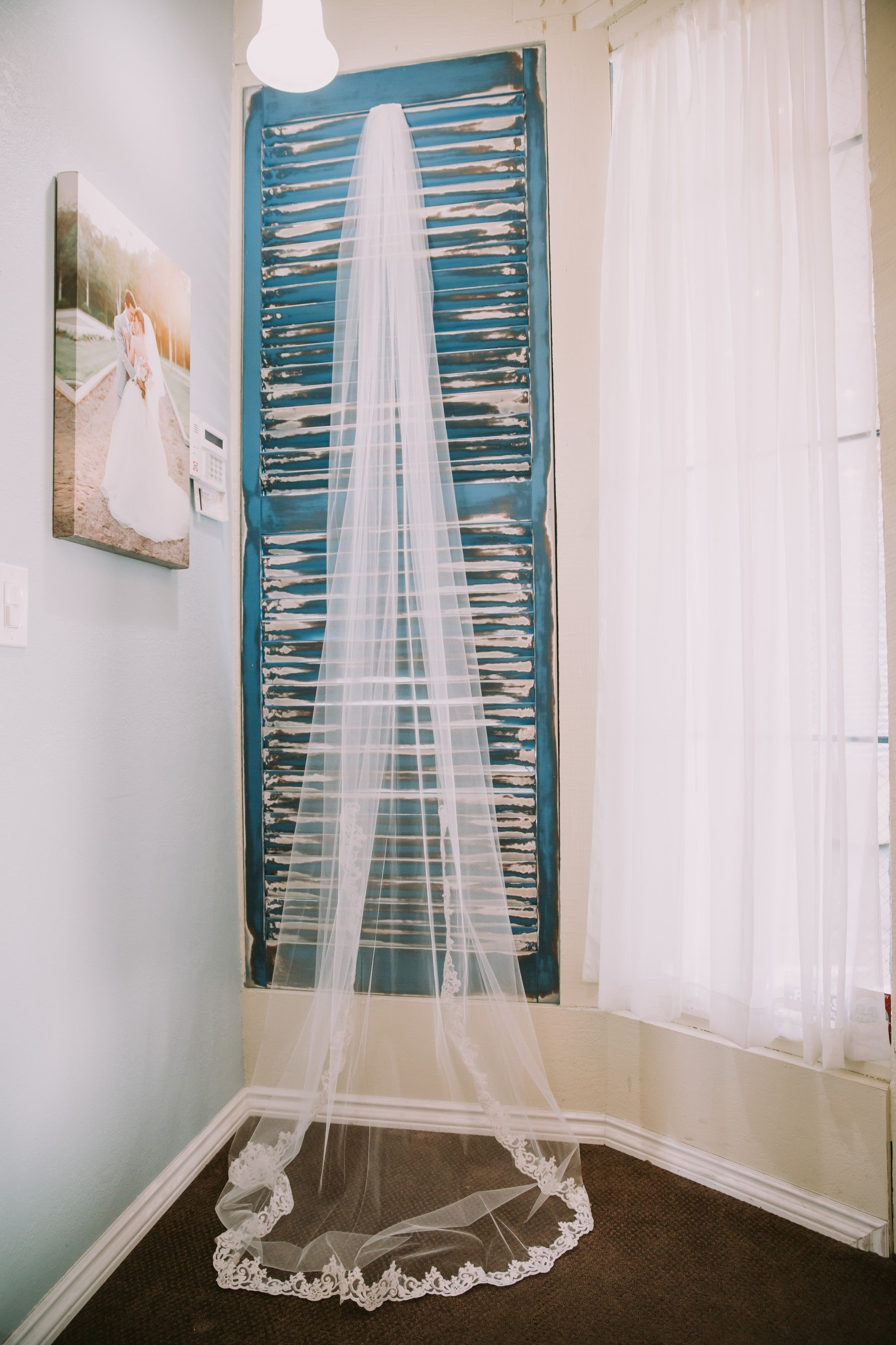 Long Cathedral Wedding Veil in Off White - Wedding Details