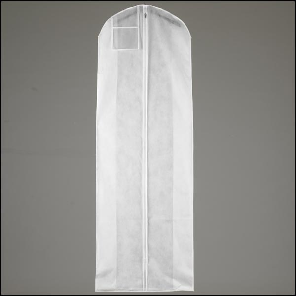 White Garment Bag and Wood Hanger