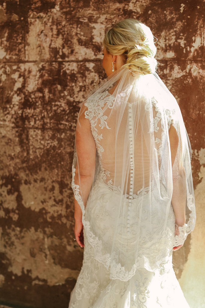 CHARM - Elbow Length Lace Wedding Veil with Partial Trim, Short Bridal Veil