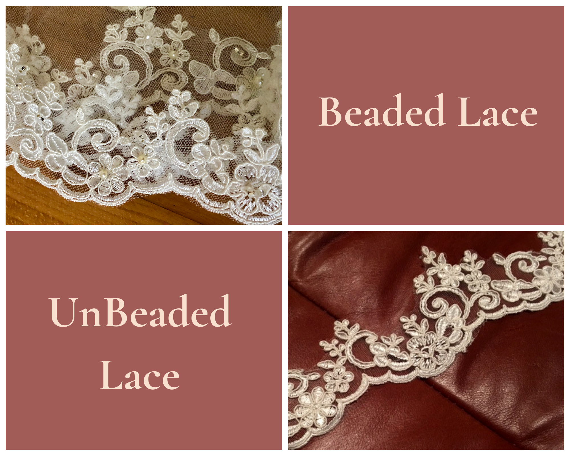 Pearl and Crystal Lace Veil vs UnBeaded Lace Veil