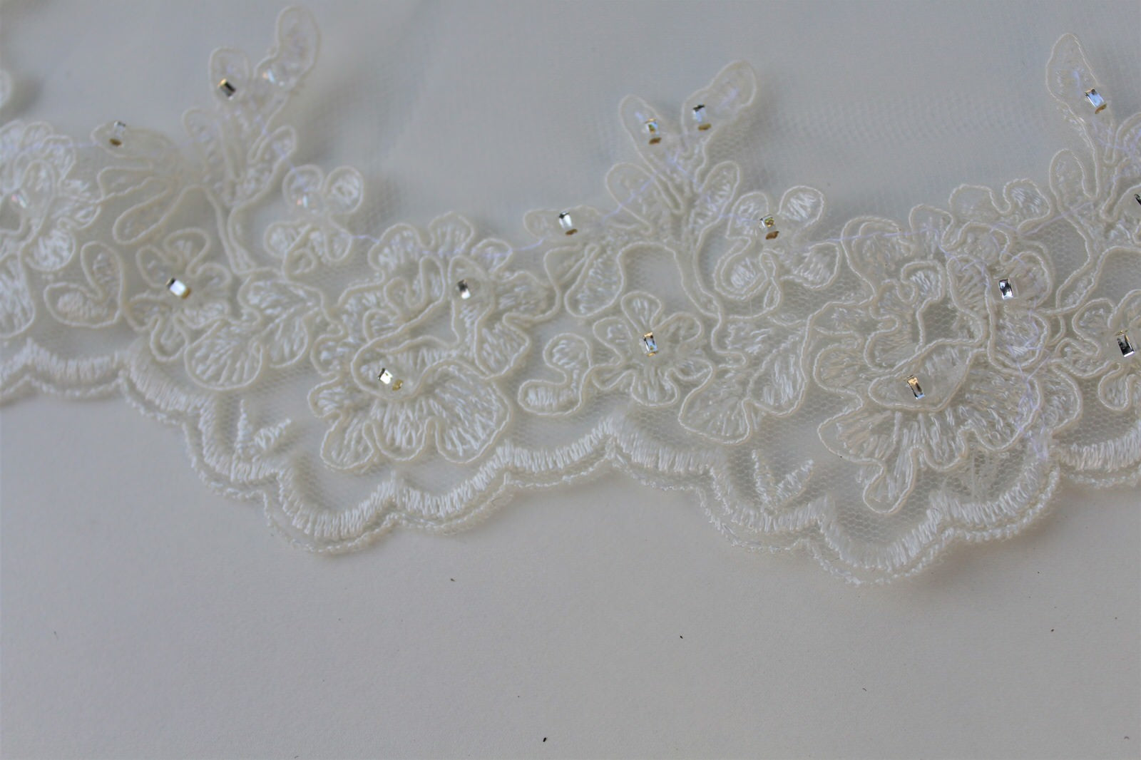 beaded french alencon lace trim with scallops