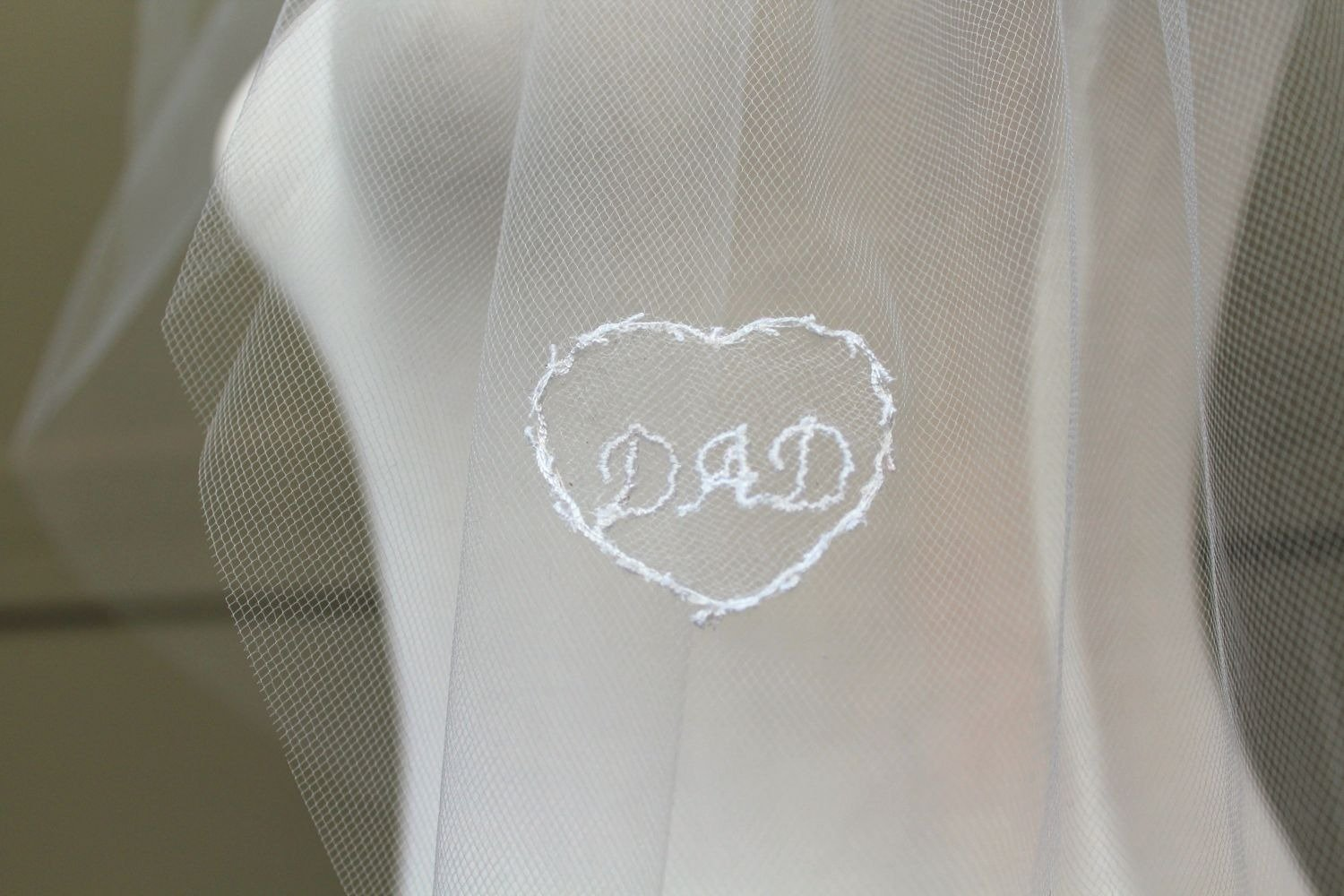 remembrance wedding veil for Dad, bridal memorial veil with embroidery