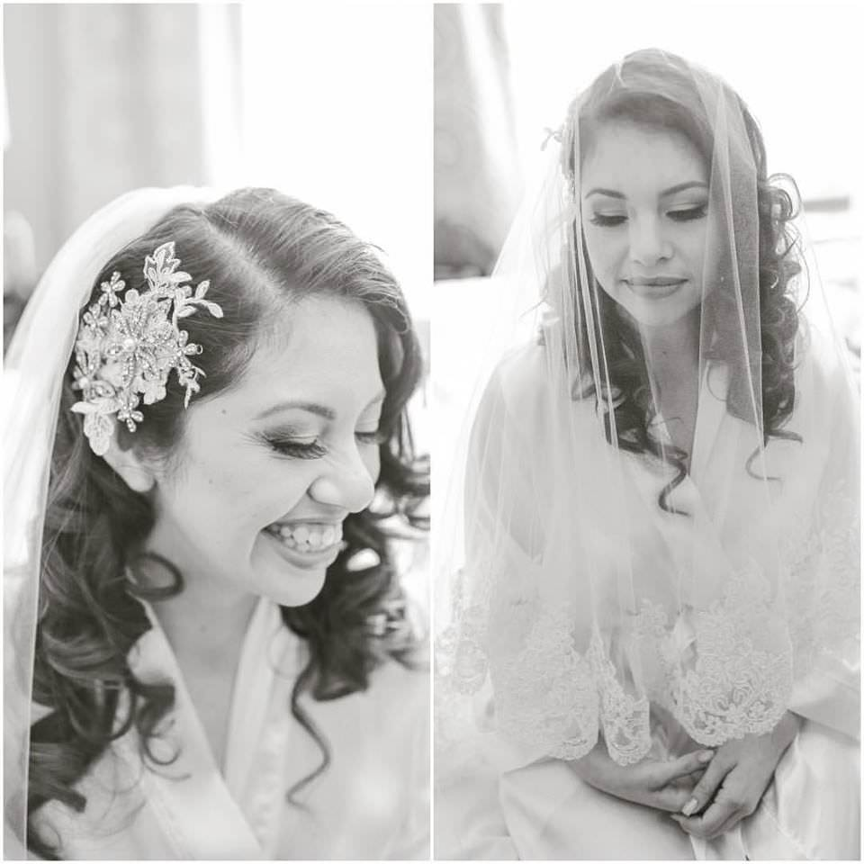 blusher wedding veil with wide lace trim and downdo