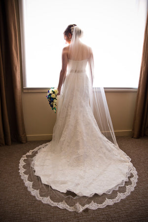 long classy cathedral length wedding veil with eyelash lace