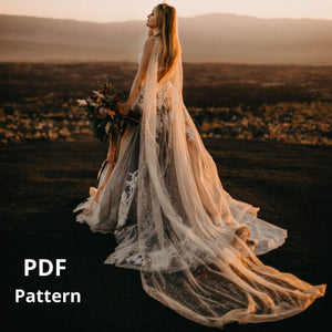 DIY Cathedral Length Draped Wedding Cape Pattern PDF Tutorial