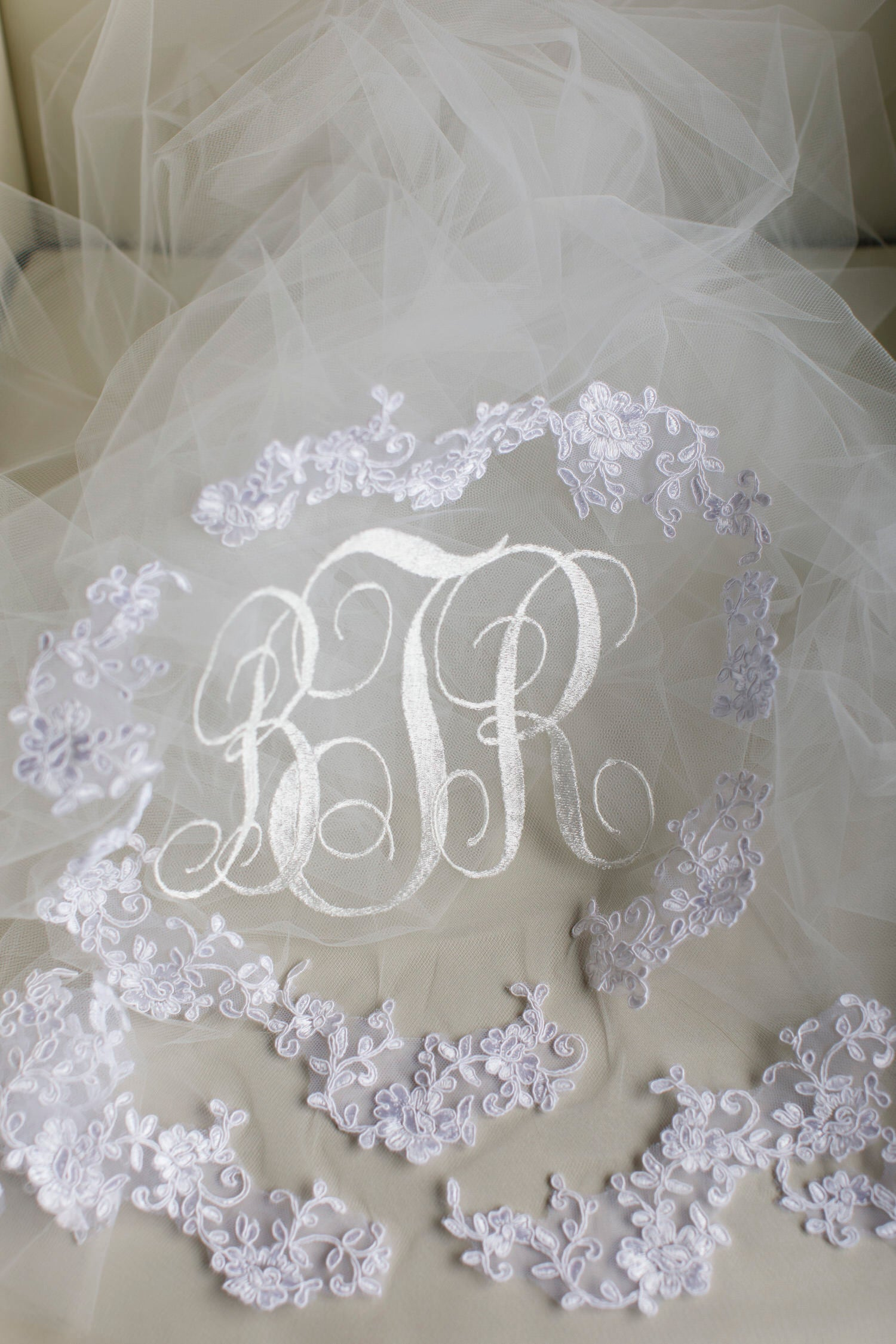 monogrammed married letter embroidered veil in off white