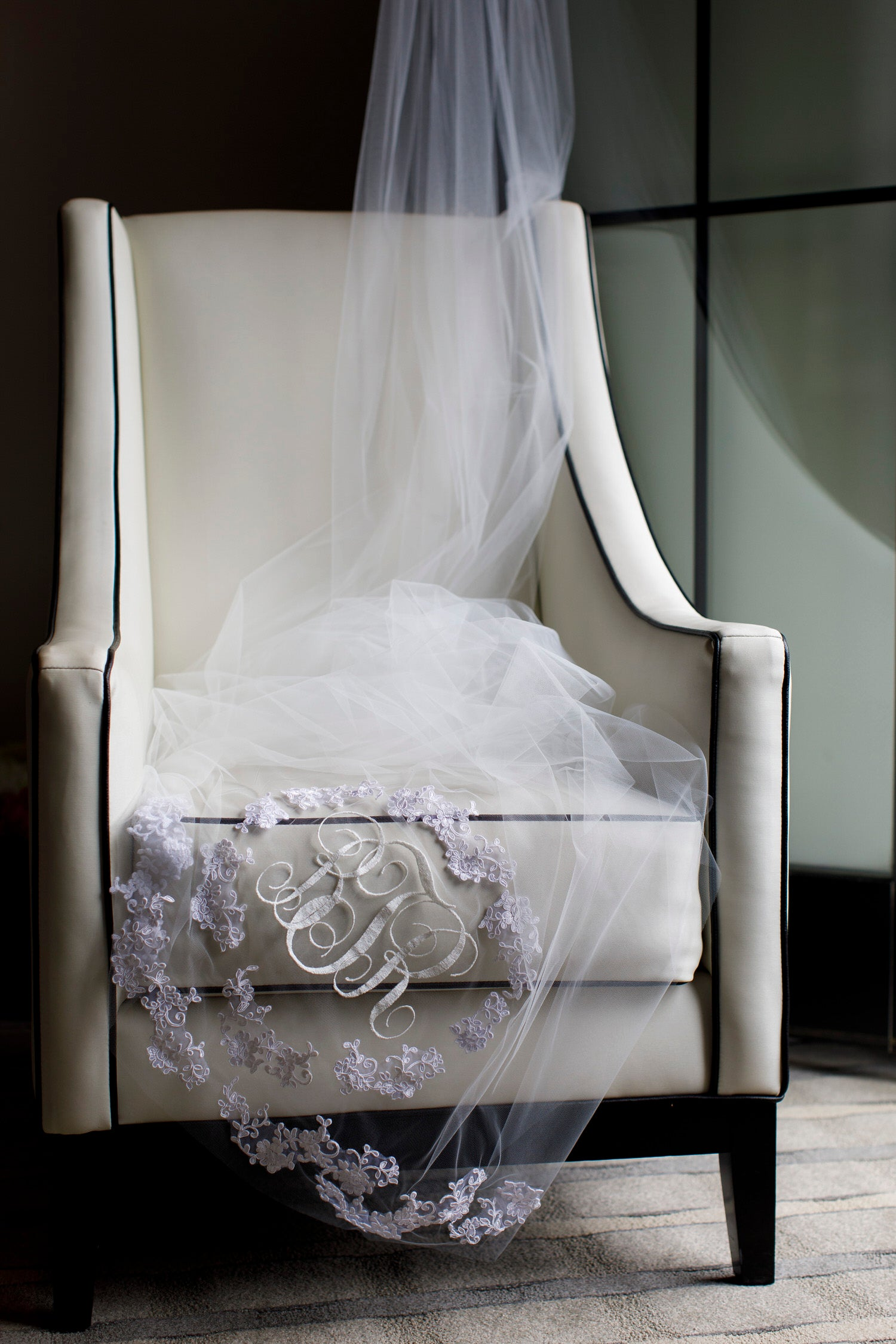 monogrammed long wedding veil with embroidered lace appliques