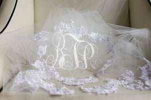 monogrammed initials embroidered wedding veil